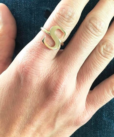 Large Gold Letter Ring
