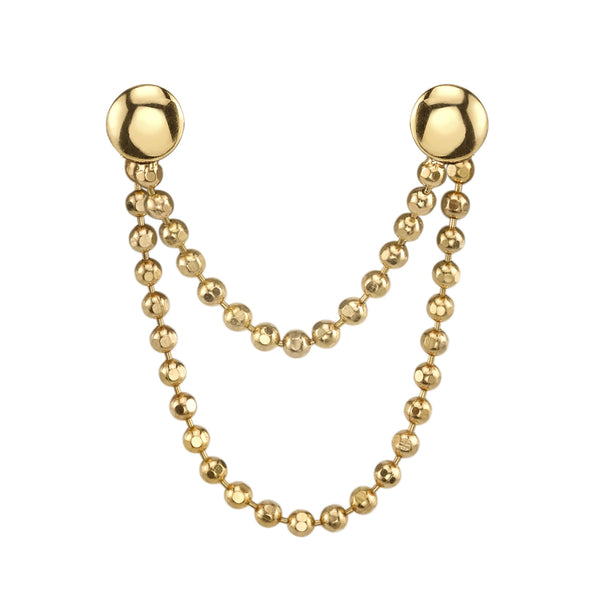 Double Solid Gold Ball Chain Earring