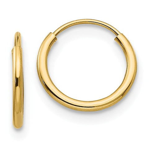 Gold Endless Hoop Earring - 9mm
