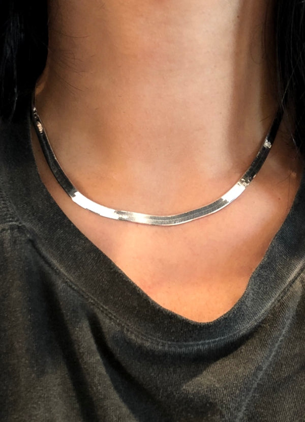 Sterling Silver Herringbone Necklace - 4.5mm