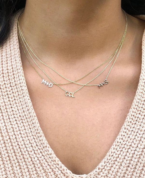 Gold Letter Necklace w/Diamond Heart Option