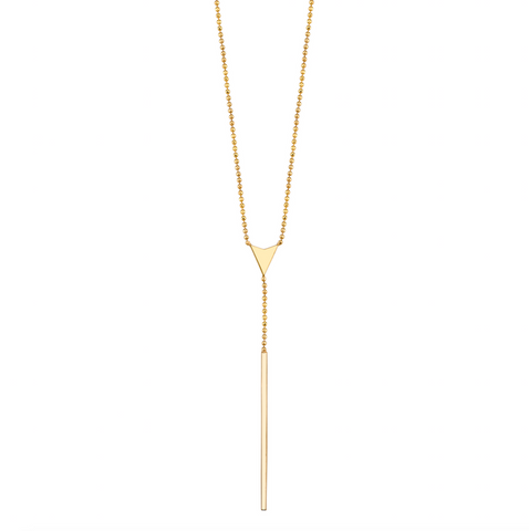 Gold Ball Chain Lariat Necklace