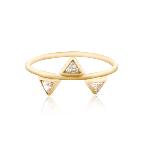 Triple Diamond Trilliant Ring