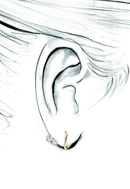 White Topaz Marquis Spiral Earring