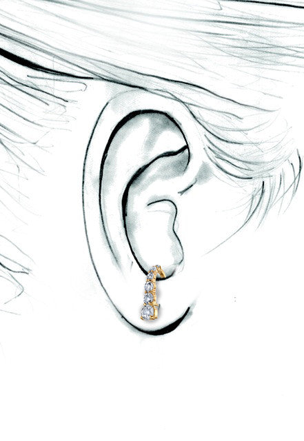White Topaz Suspender Earring