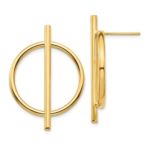 Gold Circle & Bar Earrings