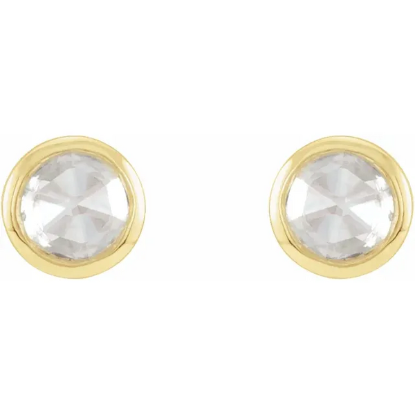 Rose Cut Diamond Bezel Set Earrings