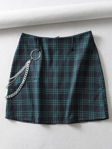 Plaid Chain Skirt - HipStore - Fashion Boutique