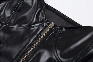 PU Leather Zipper Top