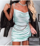 Tie Up Silk Dress