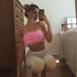 Pink Feather Crop Top