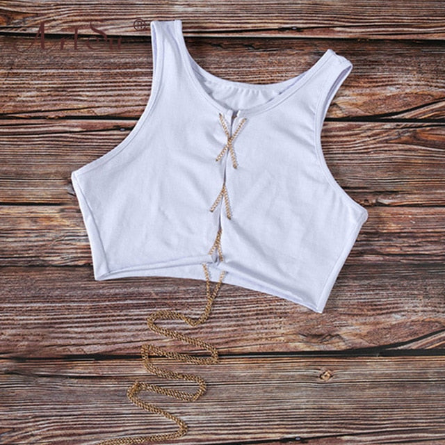 Lace Up Hollow Out Tank Top