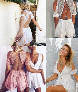 Backless Hollow Out Lace Summer Playsuit - HipStore - Fashion Boutique