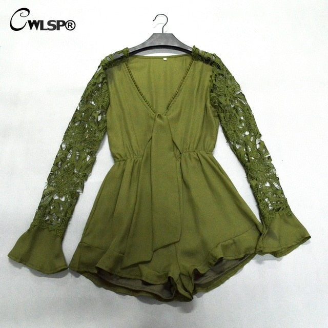 V-Neck Hollow Out Summer Jumpsuit Green / XL