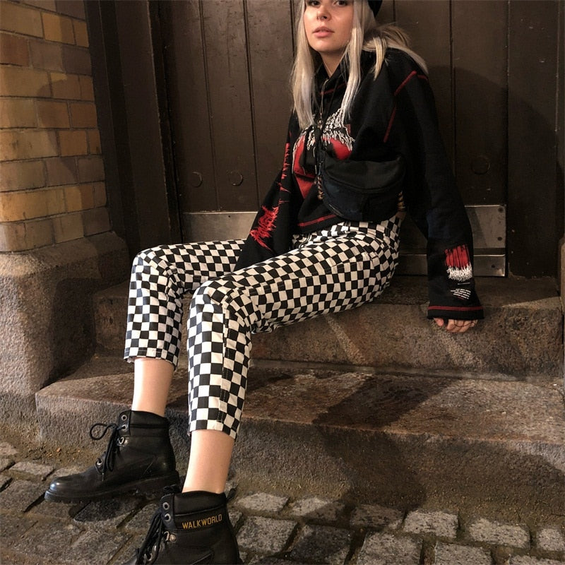 Checkered Straight Zipper Pants - HipStore - Fashion Boutique