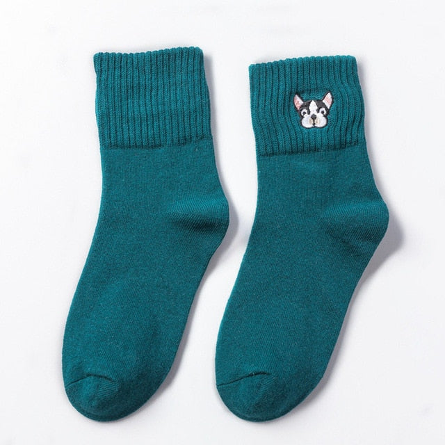 Dog Embroidery Socks - HipStore - Fashion Boutique