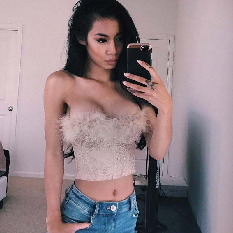 Sleeveless Feathers Crop Top - HipStore - Fashion Boutique