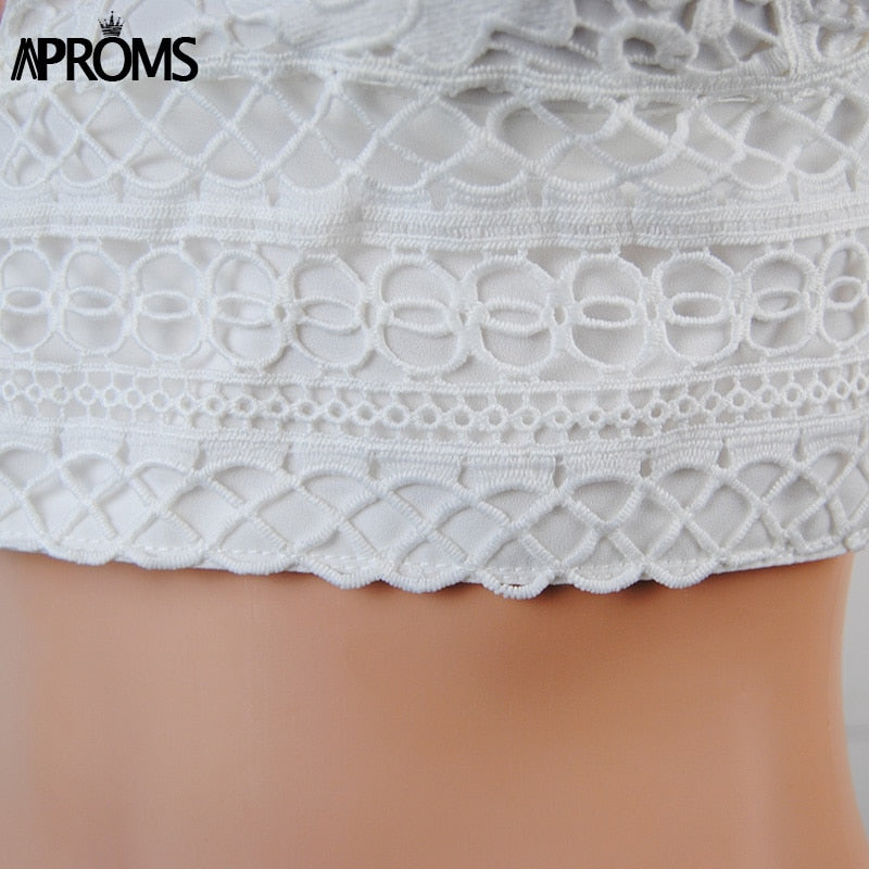White Lace Knitted Crop Top