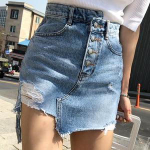 Irregular High Waist Denim Skirt - HipStore - Fashion Boutique