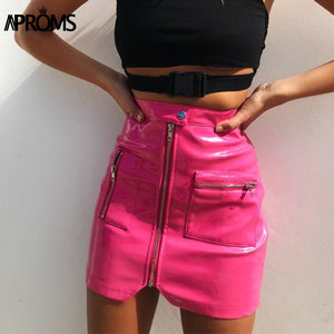 Pink PU Leather Pencil Skirt