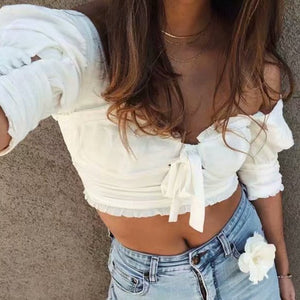 Royal Puff Sleeve Crop Top - HipStore - Fashion Boutique