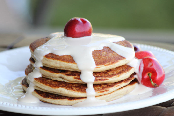 Cherry Almond Protein Pancakes w/Maple Yogurt Topping