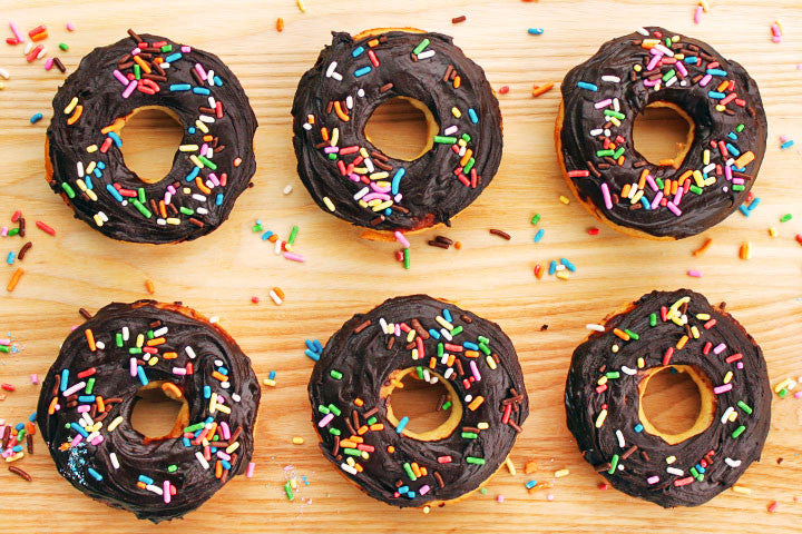 Chocolate Frosted (Vanilla) Doughnuts
