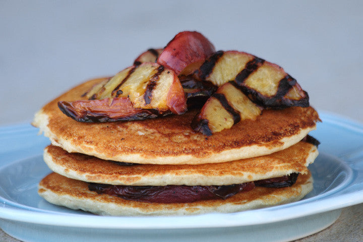 Grilled Peach Protein Pancakes