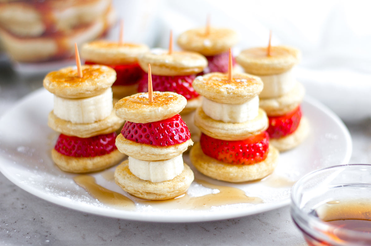 FlapJacked Strawberry Banana Pancake Kabob Samplers