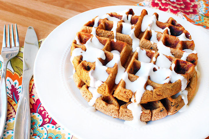 Carrot Cake Waffles (with Maple Cream Cheese Glaze)