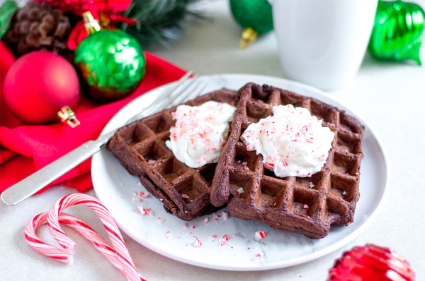 Dark Chocolate Peppermint Mighty Muffin Waffle