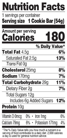 Chocolate Chip Cookie Bar Nutrition Facts