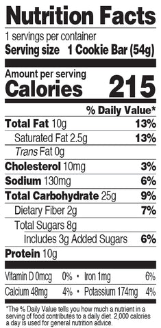 Chocolate Peanut Butter Cookie Bar Nutrition Facts