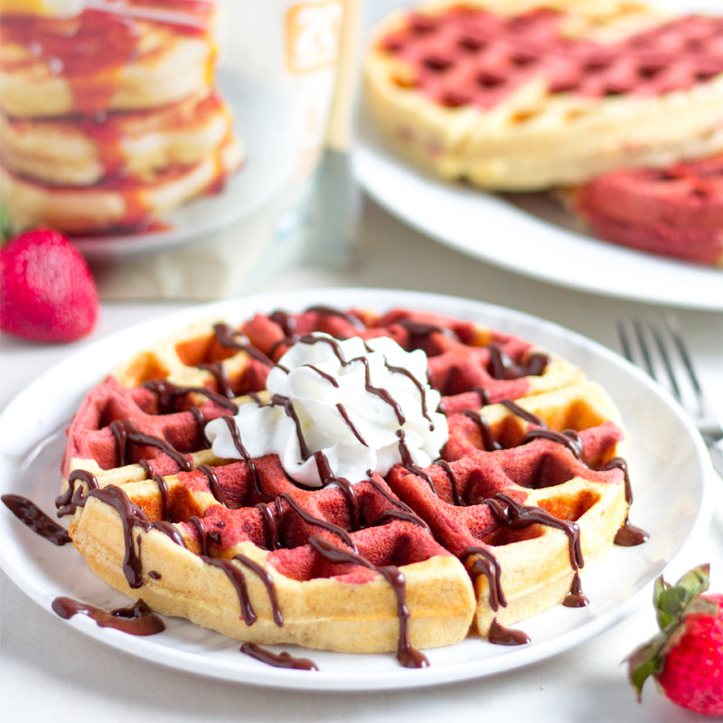 Red Velvet Marbled Waffles