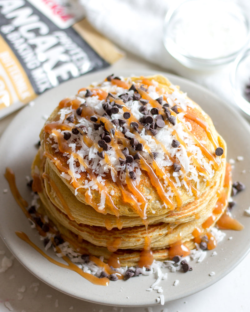 Chocolate Caramel Coconut Pancakes