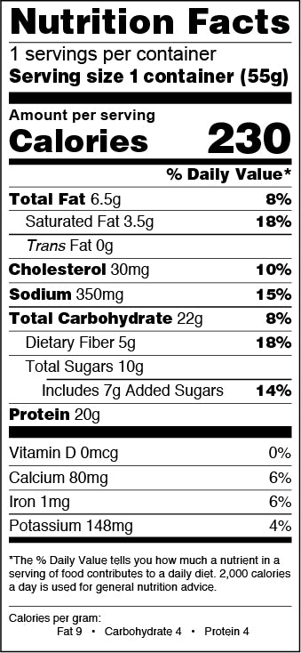 Lemon Poppy Seed Nutrition Facts