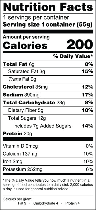 Banana Chocolate Chip Mighty Muffin Nutrition Facts