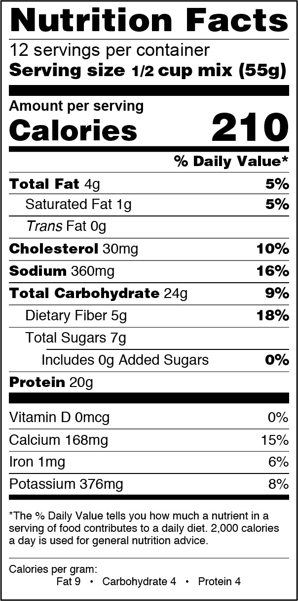 24oz Protein Pancake & Baking Mix Buttermilk Nutrition Label