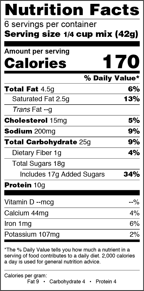 FlapJacked Chocolate Chip Cookie and Baking Mix Nutrition Label