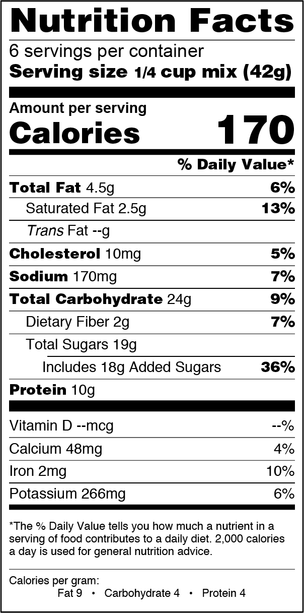 FlapJacked Double Chocolate Cookie and Baking Mix Nutrition Label
