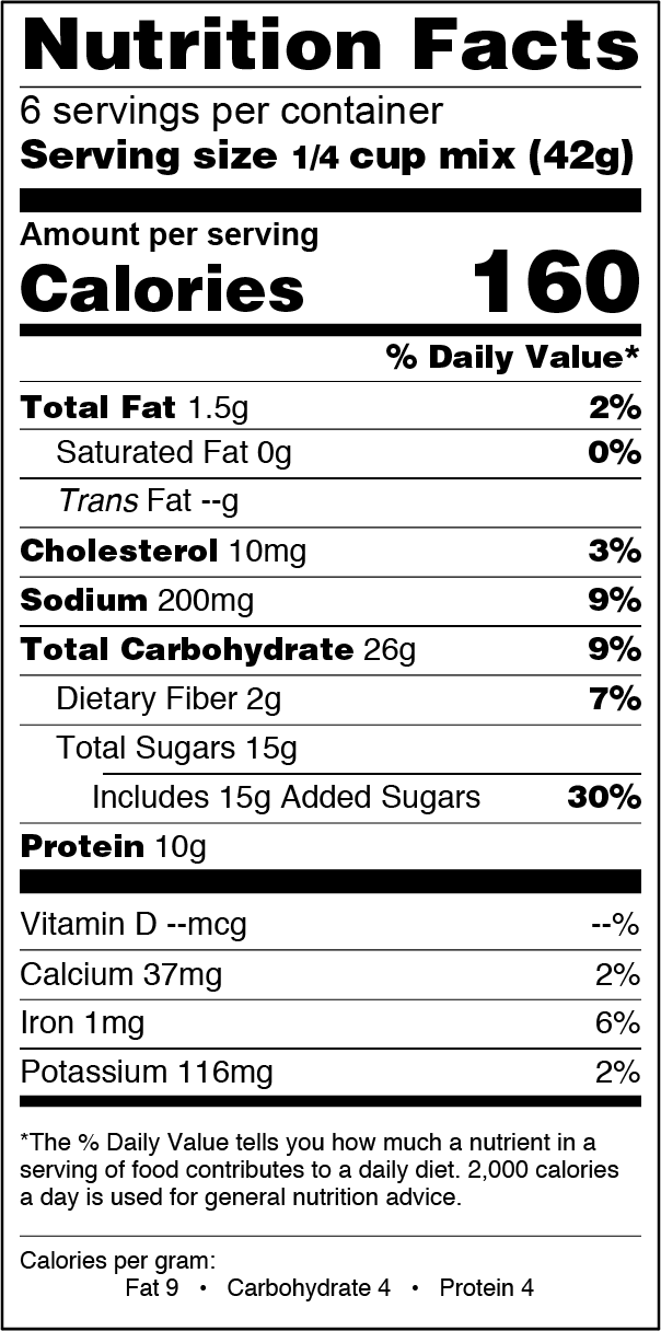 FlapJacked Oatmeal Cookie and Baking Mix Nutrition Label