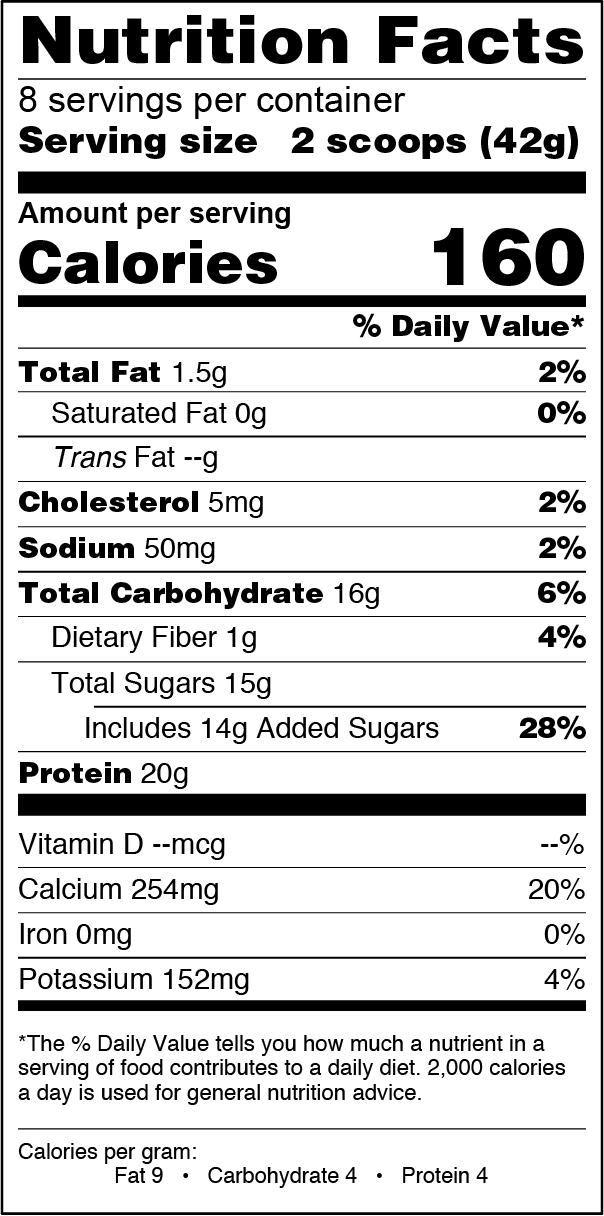 FlapJacked Vanilla Bean Smoothie Mix Can Nutrition Label