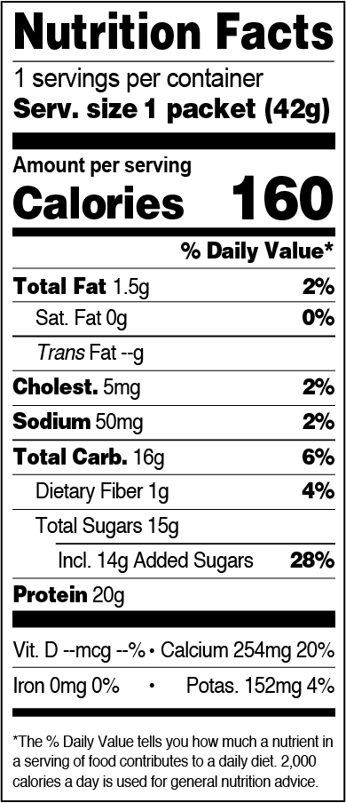 FlapJacked Vanilla Bean Smoothie Mix Packet Nutrition Label