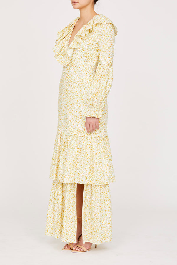 Amanda Uprichard Janelle Maxi in Yellow Floral - Womens Dresses