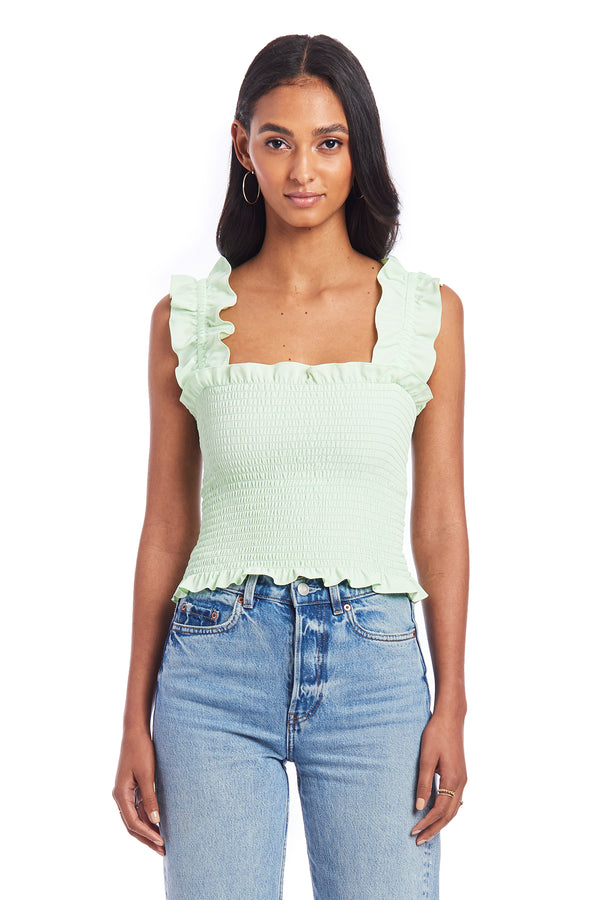 Amanda Uprichard Adelene Smocked Top - Green | Women's Tops