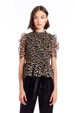 Amanda Uprichard Adrina Top - Leopard | Women's Tops