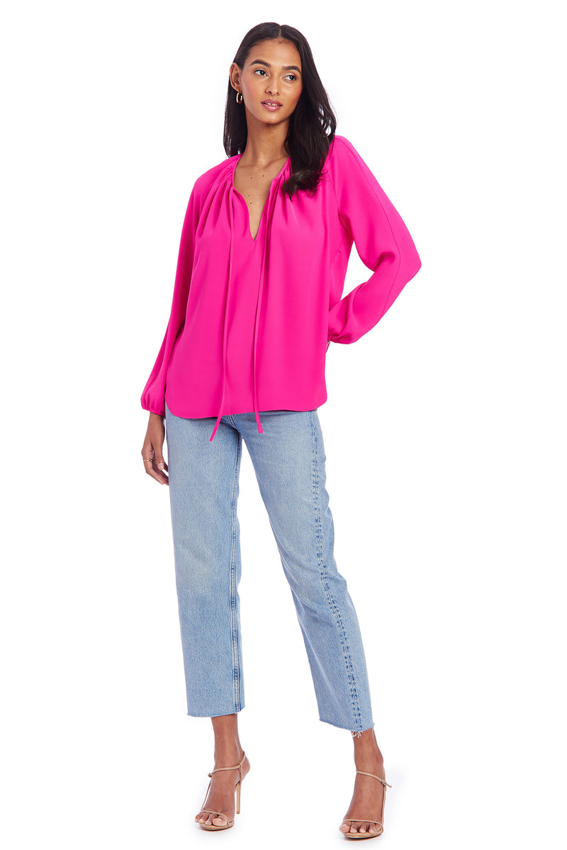 Amanda Uprichard Alessia Blouse - Hot Pink | Women's Blouse