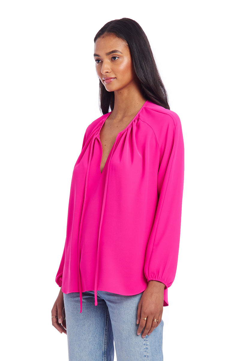 Amanda Uprichard Alessia Blouse - Hot Pink | Women's Blouse  Edit alt text