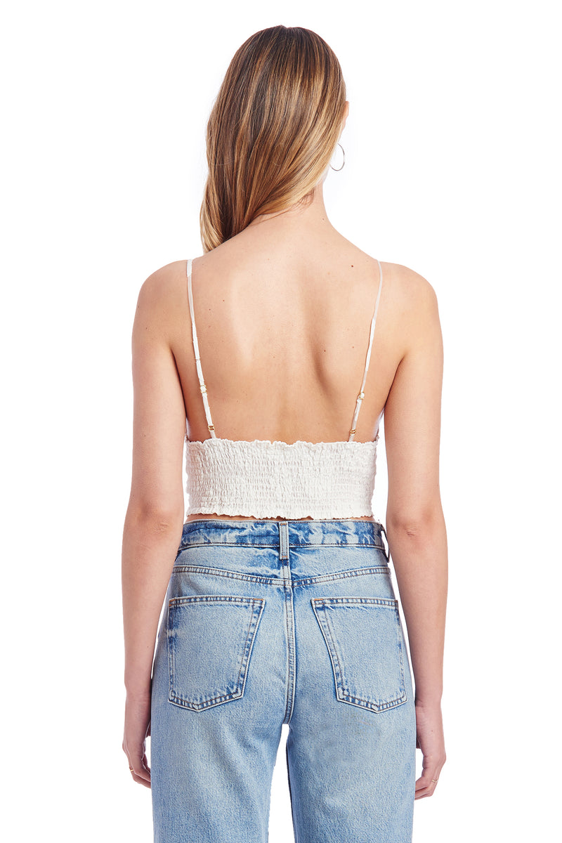 Amanda Uprichard Amory Crop Top - White Daisy | Women's Tops