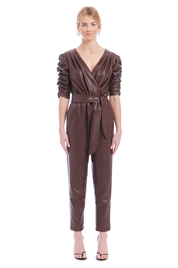 Amanda Uprichard Annika Jumpsuit - Chocolate Brown | Women's Jumpsuits